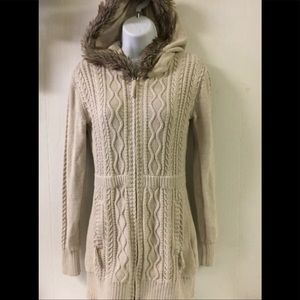 Athleta Cable Knit Fur Trim Sweater, Size Small